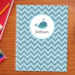 sweet little blue whale personalized notebook for kids