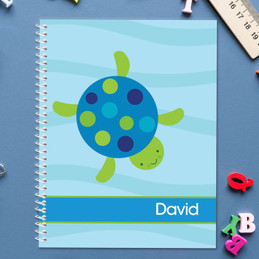 swimming blue turtle personalized notebook for kids
