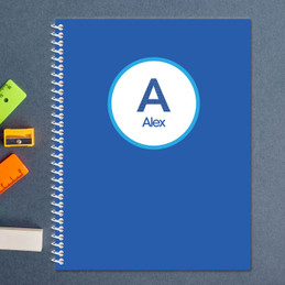 linen blue letter personalized notebook for kids