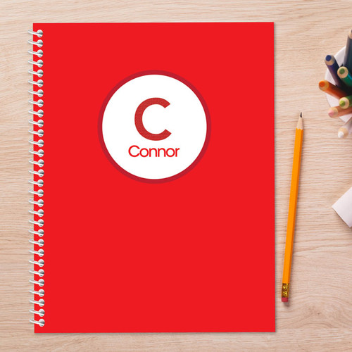 linen red letter personalized notebook for kids