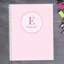 shiny pink letter personalized notebook for kids