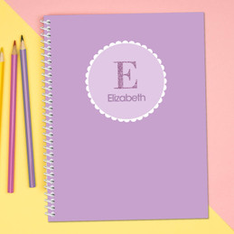 A Shiny Purple Letter Kids Notebook