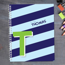 blue brilliant initial personalized notebook for kids