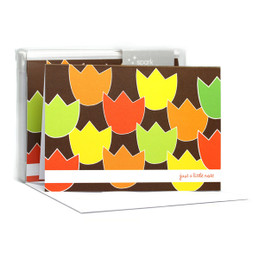 Modern Boxed Stationery Note Cards   Tulip Bunch Orange