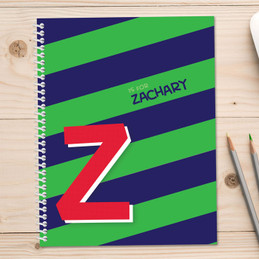 green brilliant initial personalized notebook for kids
