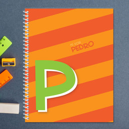 orange brilliant initial personalized notebook for kids
