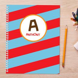 Fun Initials Red Kids Notebook