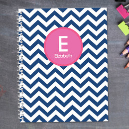 Chevron Blue and Pink Kids Notebook