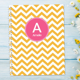 Chevron Mustard and Pink Kids Notebook