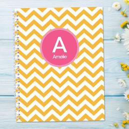 Chevron Mustard and Pink Kids Notebook