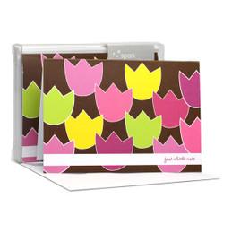 Beautiful Blank Notecard   Tulip Bunch Pink