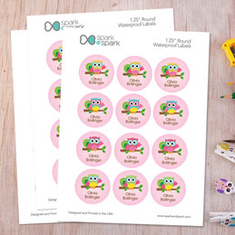 Hello Little Owl Waterproof Labels for Kids (Set of 48)
