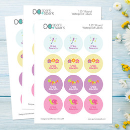 Sweet Spring Waterproof Labels for Kids