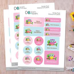 Hello Little Owl Waterproof Labels Variety Pack