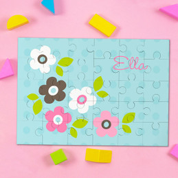 Blue Preppy Flowers Personalized Puzzles By Spark & Spark