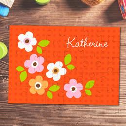 Orange Preppy Flowers Custom Puzzles By Spark & Spark
