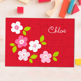 Red Preppy Flowers Personalized Puzzles By Spark & Spark