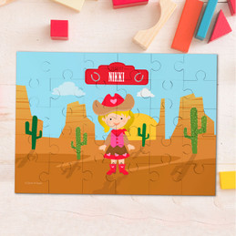 Blonde Cowgirl Personalized Kids Puzzles By Spark & Spark