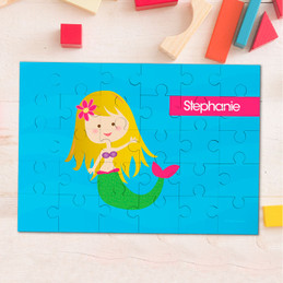 Cute Blonde Mermaid Personalized Puzzles By Spark & Spark
