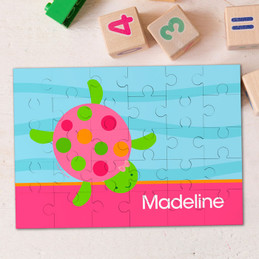 Swimming Pink Turtle Personalized Puzzles By Spark & Spark