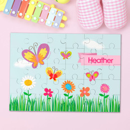A Butterfly Field Personalized Kids Puzzles By Spark & Spark