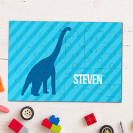 Dino And Me - Blue Personalized Puzzles