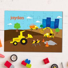 Construction site personalized kids puzzles