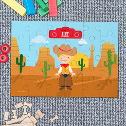 Blonde cowboy kids name puzzle