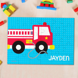 Cool Firetruck kids name puzzle