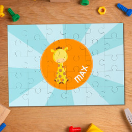 Cute baby giraffe personalized name puzzle