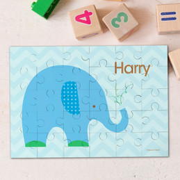 Blue baby elephant kids name puzzle