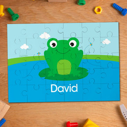 Cute smiley Frog personalized name puzzle