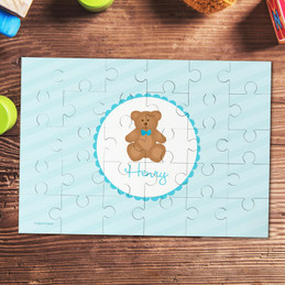 Cute blue teddy bear kids name puzzle