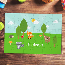 Cute animals in the forest personalized kids puzzles