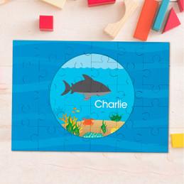 Shark waves kids name puzzle