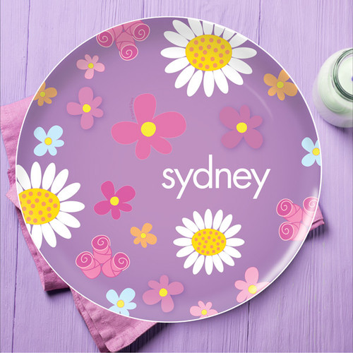 Field Of Flowers Purple Personalized Plates For Kids