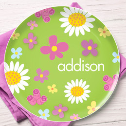 Field Of Flowers Green Personalized Melamine Plates