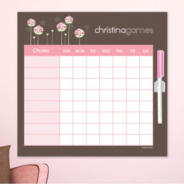 Blossoms On Chocolate Chore Calendar