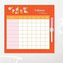 Preppy Flowers Orange Chore Chart For Teens