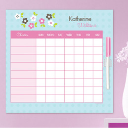 Preppy Flowers Blue Weekly Chore Chart