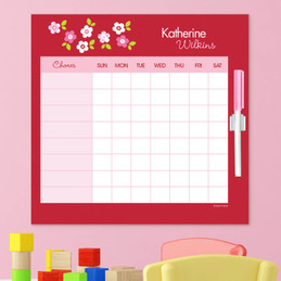 Preppy Flowers Red Charts For Kids