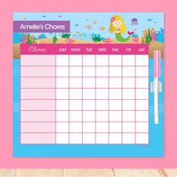 Sweet Mermaid Blonde Chore Chart For Kids