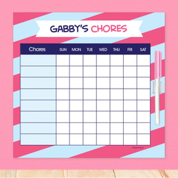 Double Initial Stripes Blue Childrens Chore Chart