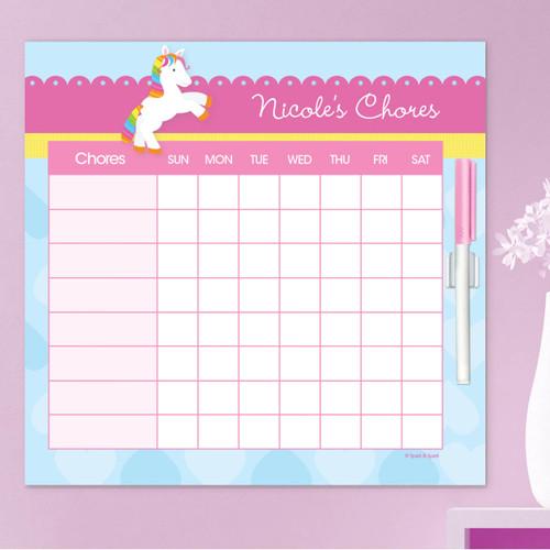 Cute Rainbow Pony Chore Chart For Kids