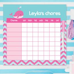 Sweet Pink Whale Kids Chore Chart