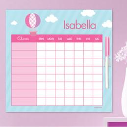 Pink Hot Air Balloon Summer Chore Chart