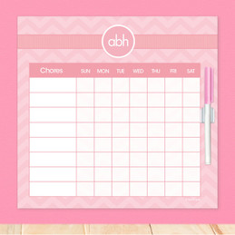 Initials On Chevron Kids Chore Chart