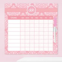 Pink Sweet Damask Chore Chart For Kids
