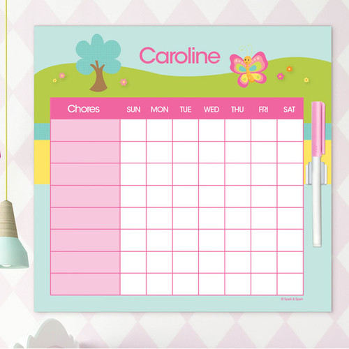 Cute And Sweet Butterfly Chore Chart For Teens