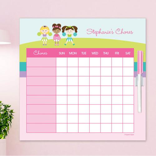 Three Cheerleaders Childrens Chore Chart